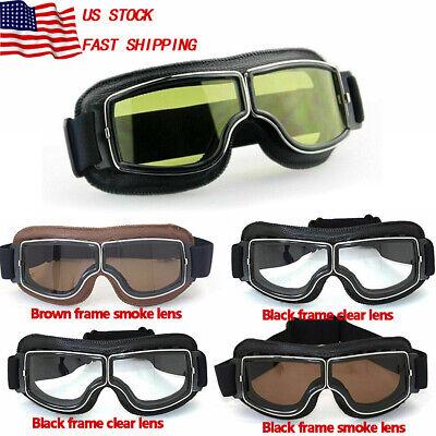 Leather Vintage Aviator Pilot Goggles Glasses Retro Helmet Driving Motorcycle US](Aviator Goggles)