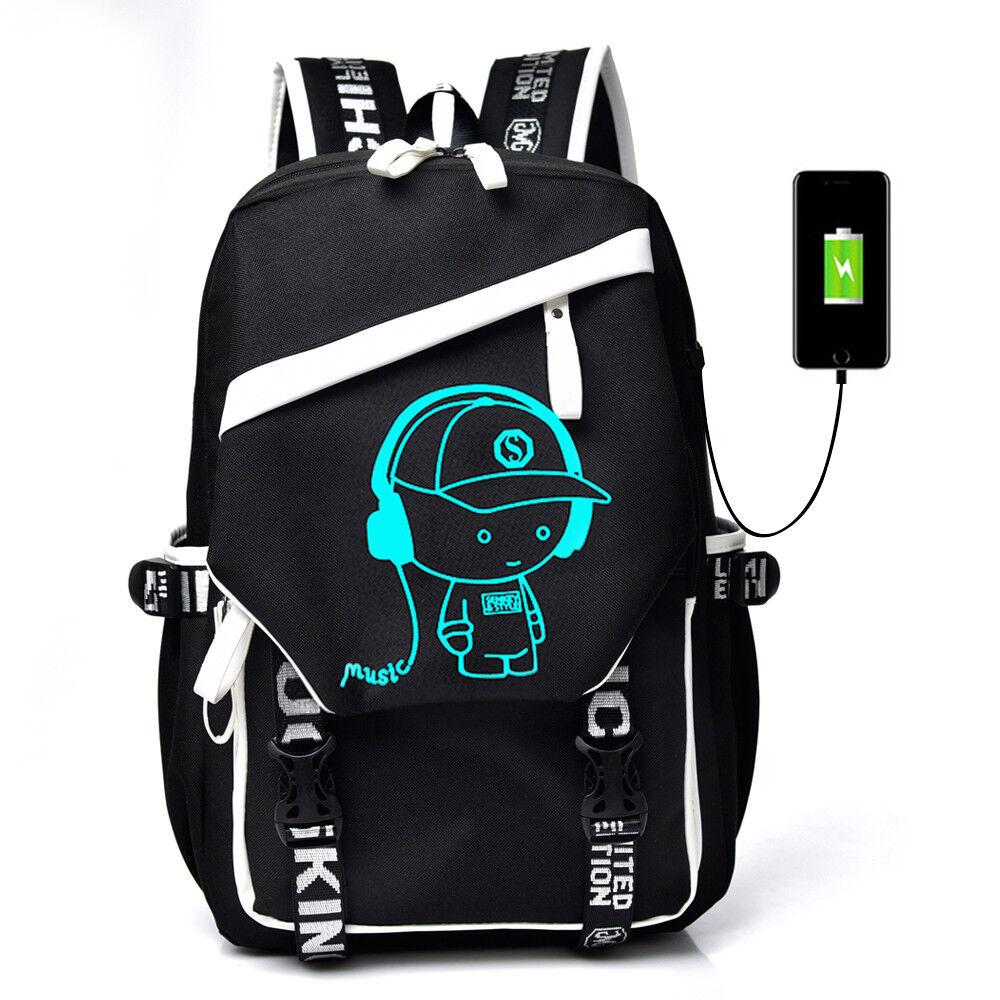 5d81b2af4c2b Details about Night Luminous Backpack Boys Girls USB Charging Bookbag  School Bag Shoulder Bags