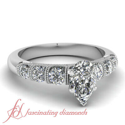 1 Carat Platinum Diamond Engagement Rings For Women With Pear Shaped In Center