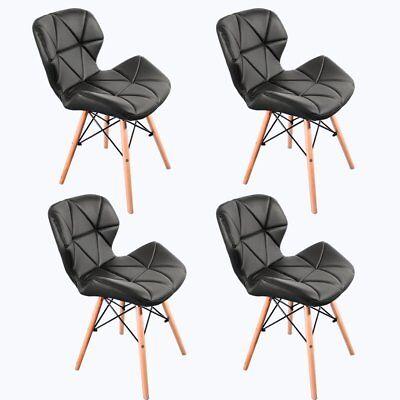 Pack 4 sillas de comedor negro nórdico diseño sillas de acero de pierna