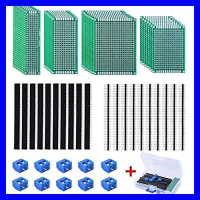 30 Pcs Double Sided Pcb Board Kit 4 Sizes Circuit W 20 40 Pin 2.54mm Header Conn