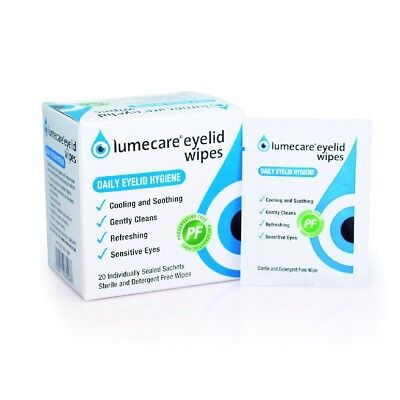 100 Lumecare Eyelid Wipes daily hygiene 5 Pack preservative and detergent free