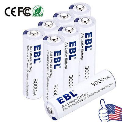 EBL 1.5V AA Lithium Battery 3000mAh Batteries (8 Pcs) With Battery Storage Case for sale  La Puente