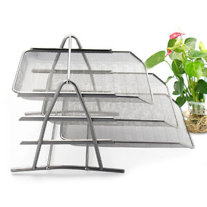 Office A4 Document Letter Paper Organiser Storage Filing Trays Holder Wire Mesh