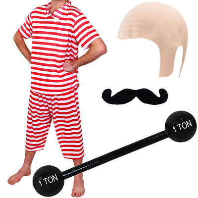 MENS CIRCUS VICTORIAN STRONGMAN COSTUME OLD TIME WEIGHTLIFTER FANCY DRESS OUTFIT