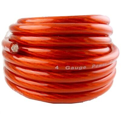 20Ft  True 4 Gauge Awg Red Power Ground Stranded 12 Volt Wire Car Audio Cable Us