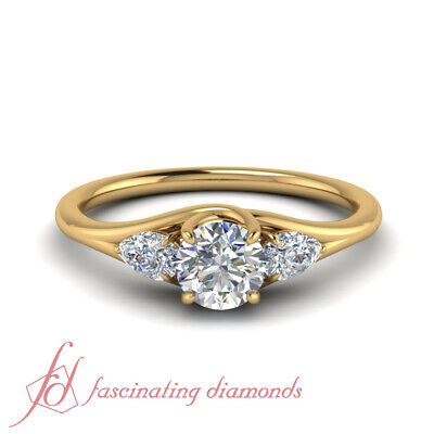 1 Carat Round Cut Diamond Past Present Future Engagement Ring In 14K Yellow Gold
