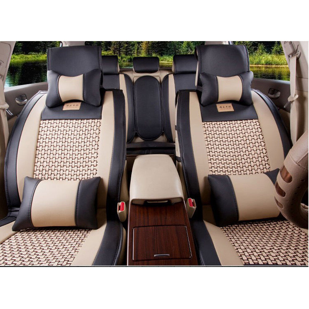7 215 Top Pu Leather Car Suv Seat Cover 5 Seats Front Rear
