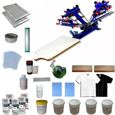4 Color Screen Printing Kit Table Press Printer With Consumables Pigment Frame