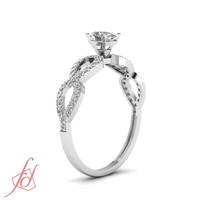 Split Shank Pave Set Ladies Diamond Rings With Oval Shaped And Round 3/4 Ct GIA 2