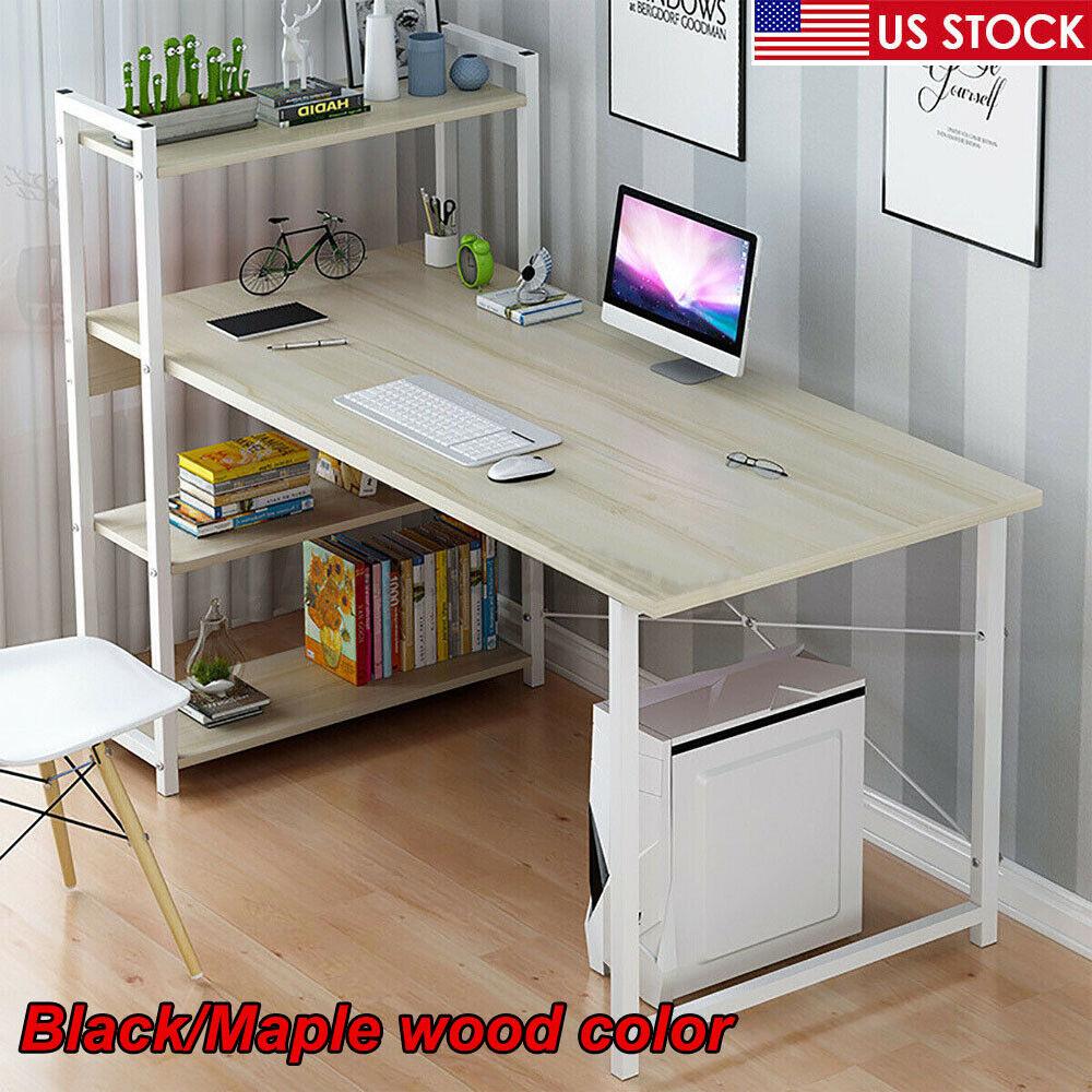 "47"" Wood Computer Desk PC Laptop Table Home Office Study Workstation w/4 Shelves 2"