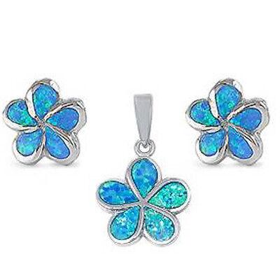 Blue Opal Plumeria .925 Sterling Silver Pendant & Earrings Set Blue Sterling Silver Earrings
