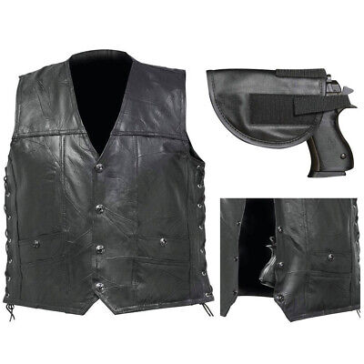 CCW LEATHER Vest Concealed Carry Lace-Up Buffalo Motorcycle Biker w/ Gun -