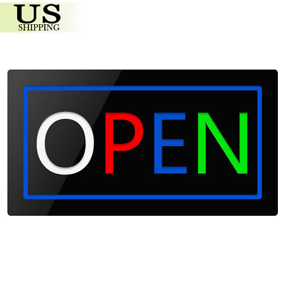 Motion Lighted Led Business Sign Open Shop Store Cafe Neon Display Light 179
