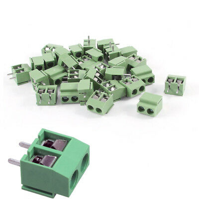30 Pcs 2 Pole 5mm Pitch Pcb Mount Screw Terminal Block 8a 250v Green New St-147