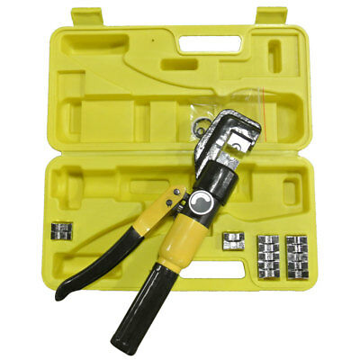 10 Ton Hydraulic Cable Crimper + 9 Dies / Carrying Case Professional Grade Tool
