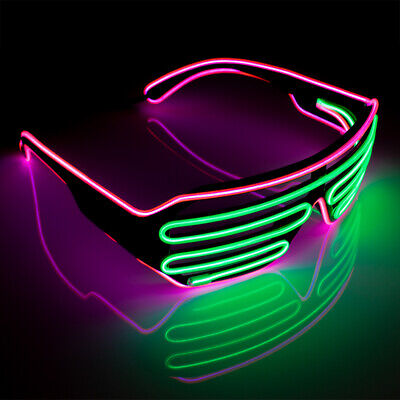 EL Wire Neon LED Shutter Sunglasses Shades Party Rave 3 Function Green Pink ()