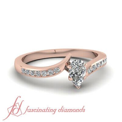 1/2 Carat Channel Set Round Twisted Diamond Rings For Women With Pear Shaped GIA