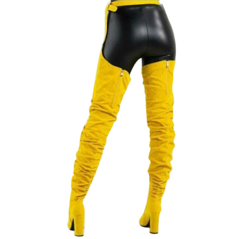 Women Ladies Over The Knee Pointed Belt Thigh High Boots High Heels Long Boots 6