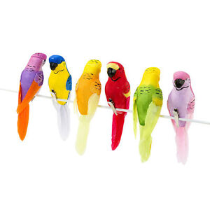 6 Clip on Tropical Birds Parrots Carnival Fiesta Decoration Hawaiian Party