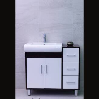 900Wx460Dx830H mm Vanity with White Doors & Brown Trim (#9180) Smithfield Parramatta Area Preview