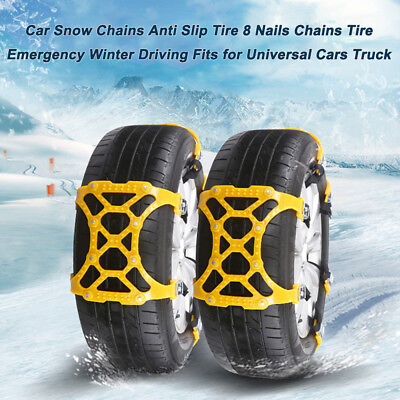 Car Snow Chains Anti Slip Tire 8 Nails Chains Tire Emergency Winter Driving N6S2