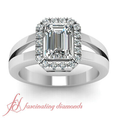 1.25 Ct Emerald Cut Halo Diamond Split Band Womens Engagement Rings Pave Set GIA 1