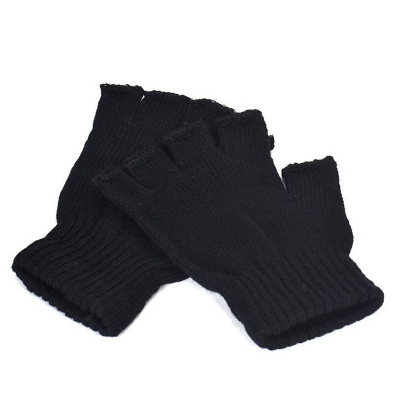 Männer Schwarz Knit Stretch Elastic Warm Halb Finger Fingerlose Handschuhe Gut