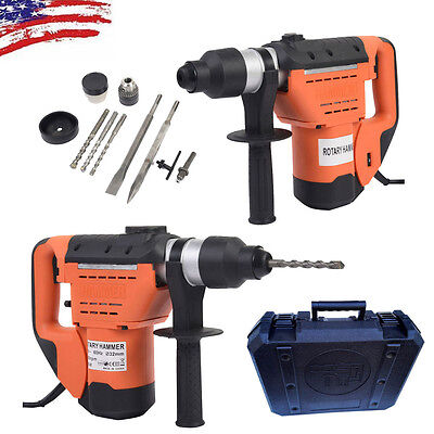 1100w 1 12 Electric Rotary Hammer Drill Sds Concrete Tile Breaker Chisel Kit