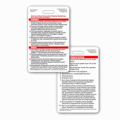 ABA Burn Care Guidelines & Referral Criterria Vertical Badge ID PockeCard RN EMT
