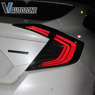 2016 2017 2018 Honda Civic Sedan Tail Light Smoked Rear Lamp all LED Pair Black