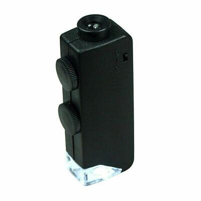 Mini 60X - 100X  Zoom Lighted Microscope Jewelers Loupe Magnifying Glass 100 X Zoom Mini