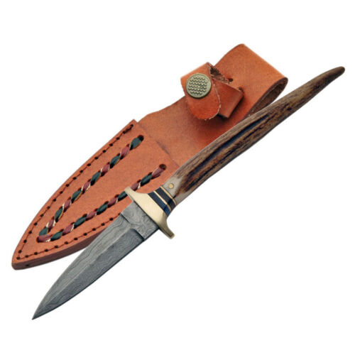 """NEW IN BOX Damascus Stag Athame Boot Knife 8"""" w/ Sheath Antler Handle Steel"""