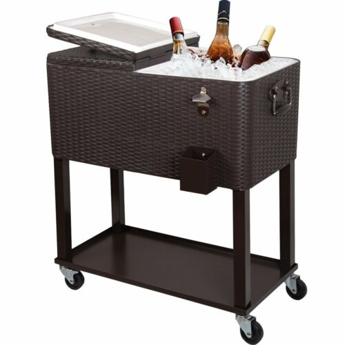 80qt rolling outdoor patio cooler cart on