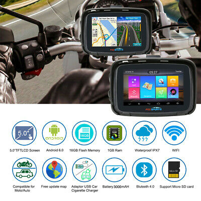 5'' Navegador GPS motocicletas 16G + 1G Android 6.0 Wifi Bluetooth GPS Navigator