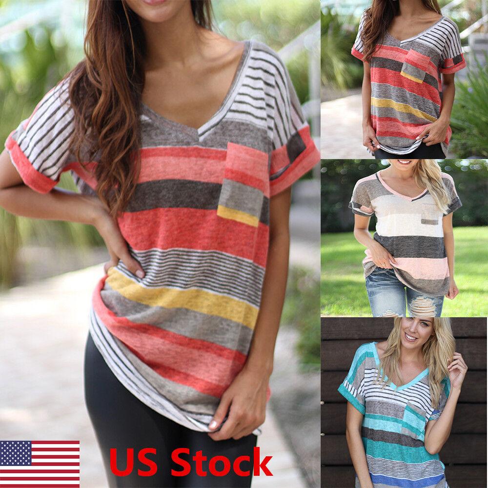 Women Summer Short Sleeve T-shirt Loose Irregular Striped V