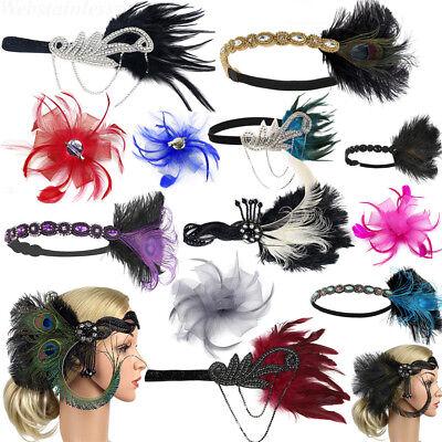 Women Feather Headband 20's Bridal Gatsby Flapper Headpiece Party Headdress Lot (20s Feather Headband)
