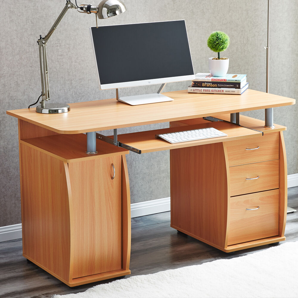RayGar Deluxe Beech Computer Desk With Cabinet And 3