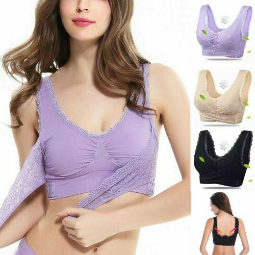 3X Damen Sport BH Bustier Bra Push-Up Fitness Gym Yoga Unterwäsche ohne Bügel DE