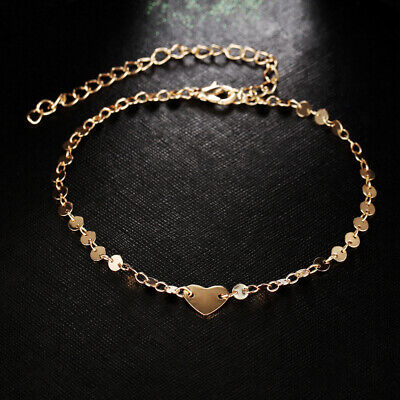 Gold Heart Ankle Bracelet - Women Bracelet Heart Gold Beach Beads Barefoot Anklet Foot Chain Jewelry Ankle