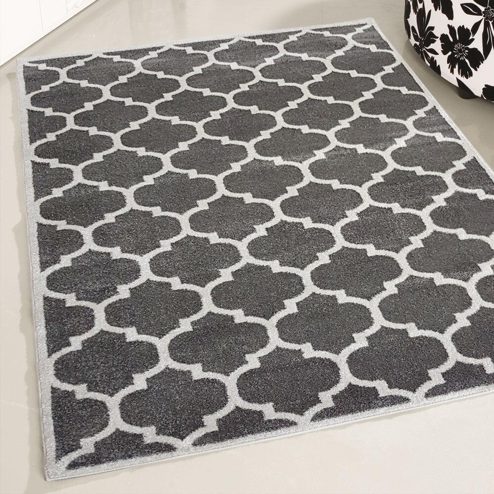 Kurzflor Teppich Grau Modern Marokkanisches Design Wohnzimmer Interior Designer