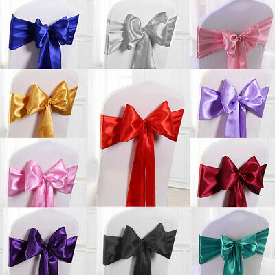 10/25/50/100pc Satin Chair Cover Sash Ribbon Bow Wedding Banquet Reception Decor](Wedding Reception Decoration)