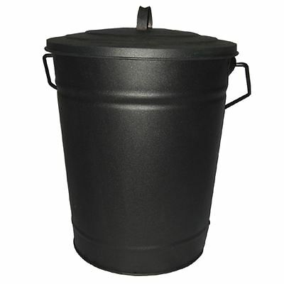 Ash Bucket Black Metal Coal Wood Log Fire Tidy Bin Lid Carrier By Home Discount