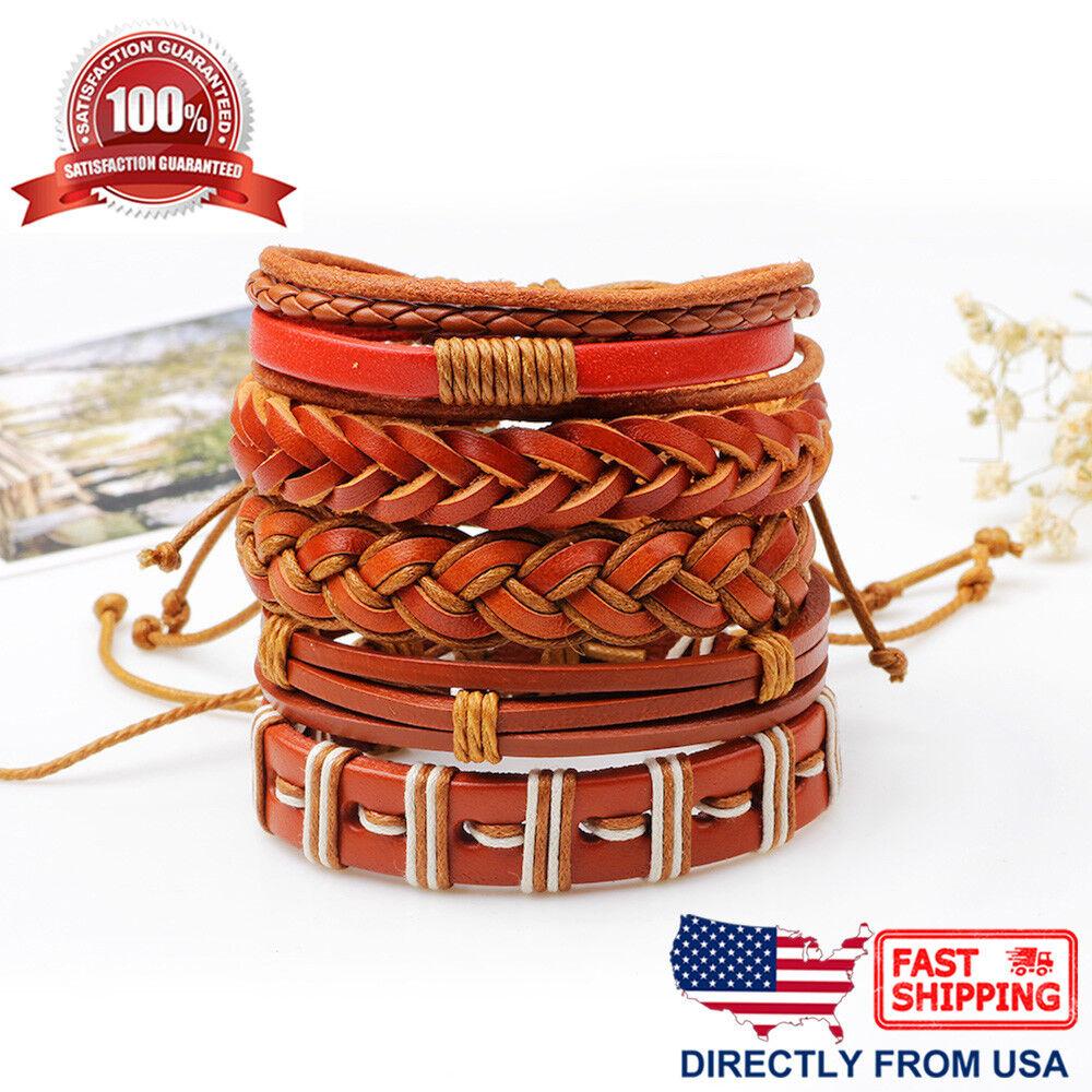 5 Pcs Set Orange Brown Braided Leather Unisex Men Women Cuff Wristband Bracelet Bracelets