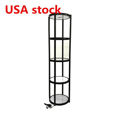 Usa Black 81 Round Aluminum Spiral Tower Display Case With Shelves Top Light