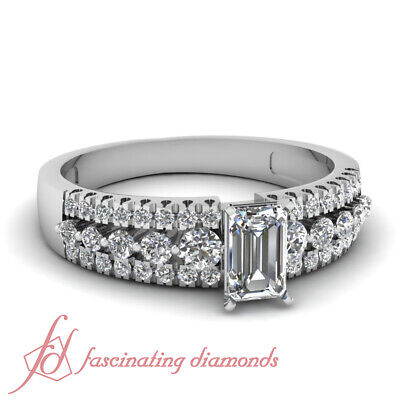 Three Row Pave Set Engagement Ring 0.90 Ct Emerald Cut Diamond SI1-E Color GIA