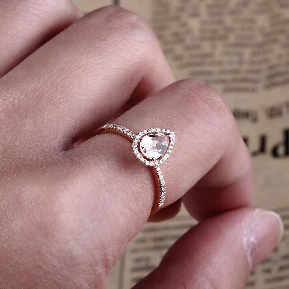 Pear Morganite & Diamonds Elegant Gemstone Solid 10K Rose Gold ...