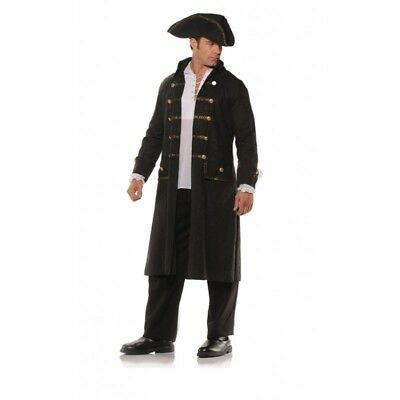 Pirate Coat Set Black Faux Leather Print Adult Mens Jacket Tricorn Hat (Black Pirate Coat Kostüm)