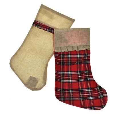 Plaid and Burlap Christmas Stockings, 18-Inch, 2-Piece](Burlap Stockings Christmas)