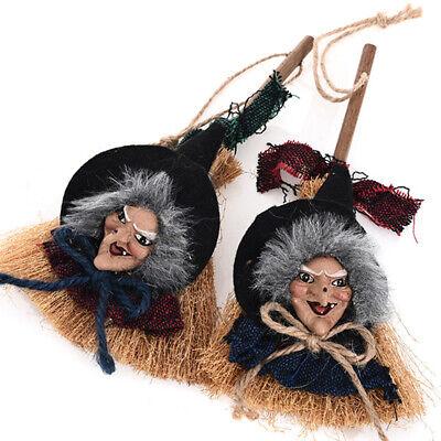 Halloween Witch Broom Hanging Ornament Home Garden Wall Door Party Decor Craft  (Witch Halloween Craft)